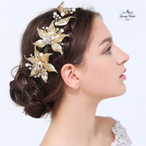 Golden Wedding Headpieces Lily
