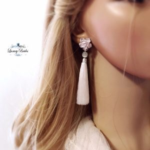 Tassel Earrings White Dream