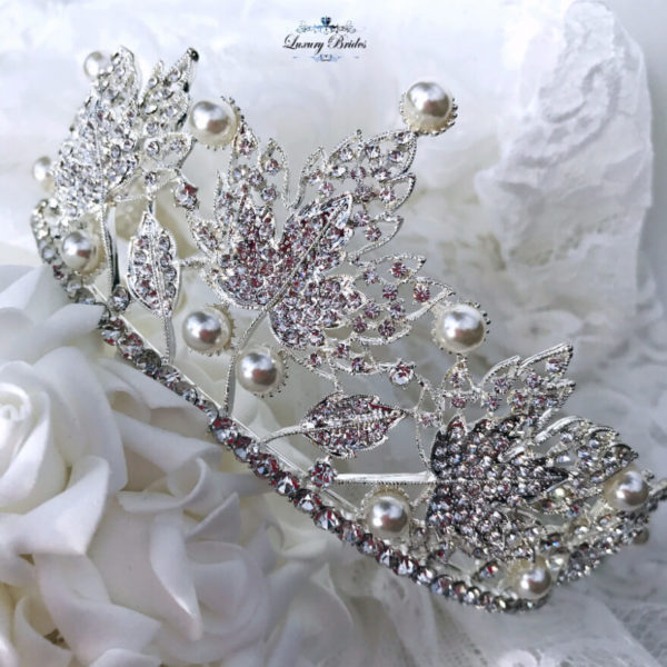 Crystal Wedding Tiara With Silver Leaves