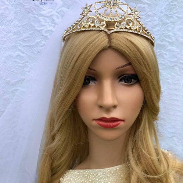 Crystal Gold Bridal Tiara Gold Moon