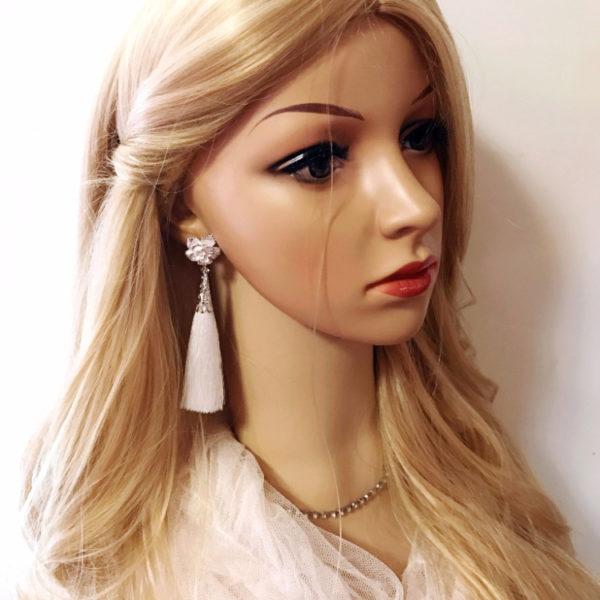 Tassel Earrings Snow Flower