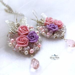 Rose Flowers Earrings Pink Miracle