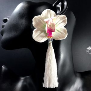White orchid tassel earrings